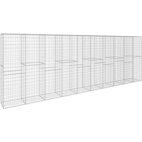 Mur en gabion avec couvercle Acier galvanise 600 x 50 x 200 cm - ASUPERMALL