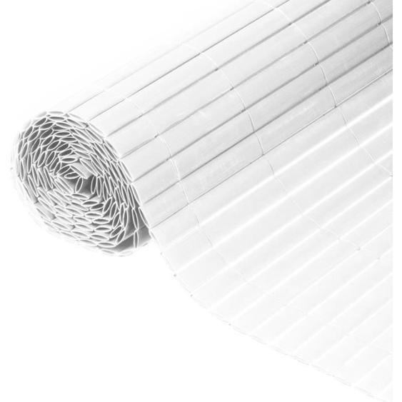 NATURE Canisse double face PVC - 1500 g/m² - Set de fixation - Blanc - 1,5 x 3 m