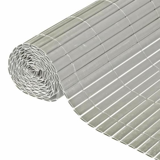 NATURE Canisse double face PVC - 1500 g/m² - Set de fixation - Gris - 1,5 x 3 m