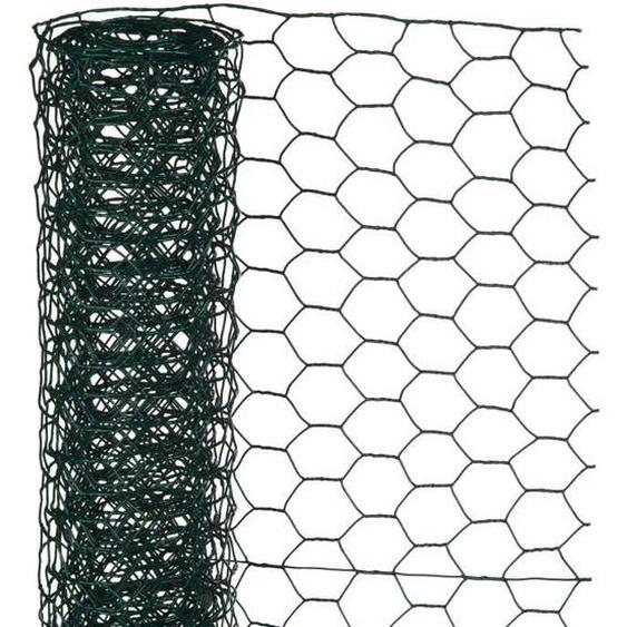 NATURE Maille hexagonale en acier galvanisé plastifié vert - Ø 25 mm - 50cmx10 m