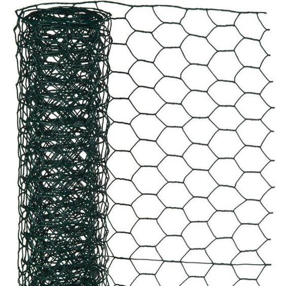 NATURE Maille hexagonale en acier galvanisé plastifié vert - Ø 25 mm - 50cmx2,50 m