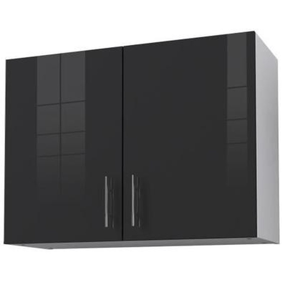 OBI Caisson haut de cuisine avec 2 portes L 80 cm - Blanc et gris laqué brillant