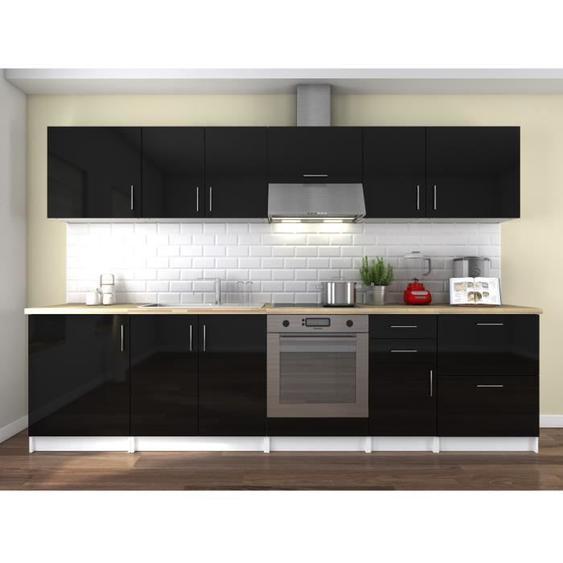 OBI Cuisine complète L 300 cm - Noir laqué brillant