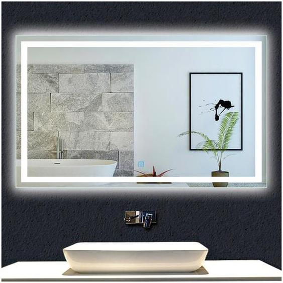 OCEAN Miroir de salle de bain 120x70cm anti-buée miroir mural avec éclairage LED modèle Carré - OCEAN SANITAIRE