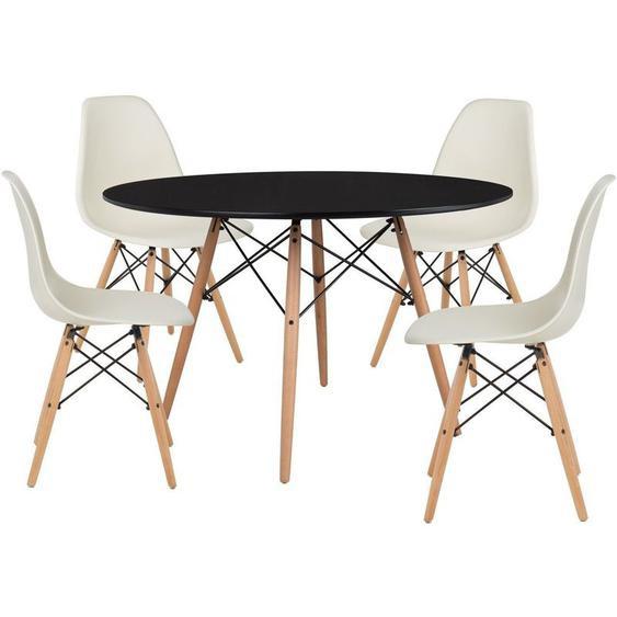 SKLUM Pack 4 Chaises & Table Scand Ø120 Beige Crème Noir - Beige Crème Noir