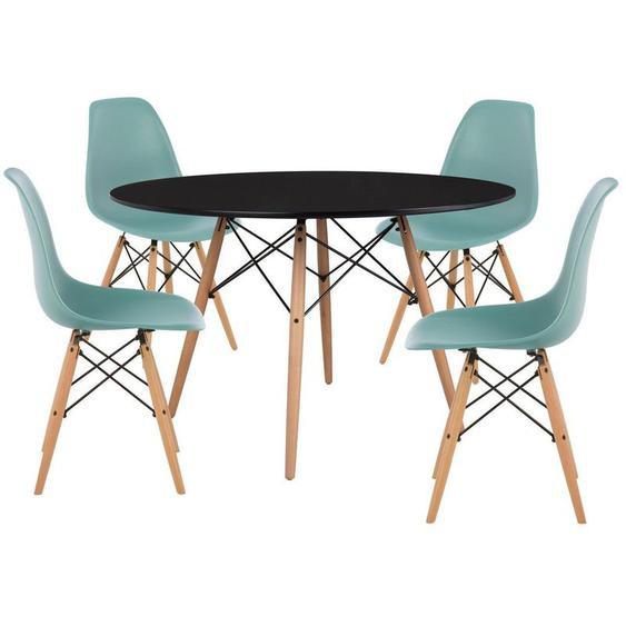 SKLUM Pack 4 Chaises & Table Scand Ø120 Vert Sapin Noir - Vert Sapin Noir