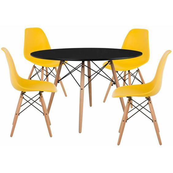 Pack 4 Chaises & Table Scand Ø120 Jaune Fresia Noir - Jaune Fresia Noir - Sklum