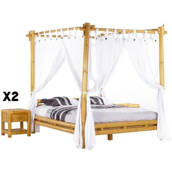 Pack CHAMBRE MALINDI - lit à baldaquin 160 x 200 cm + 2 chevets - Bambou