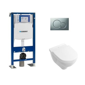 Pack WC Geberit UP320 + Cuvette ONovo VILLEROY + plaque Sigma Chromé Mat