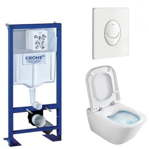 Pack WC Grohe Rapid SL + Cuvette GAP Cleanrim Roca + Plaque Blanche