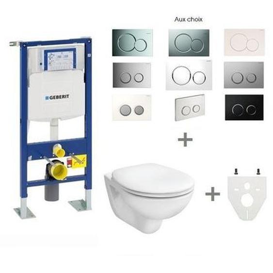 Pack WC suspendu Geberit autoportant | Abattant standard - Sigma20 blanc/chromé brillant