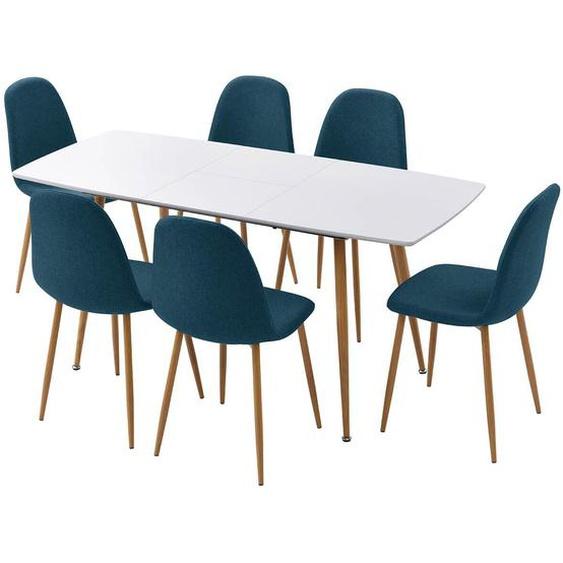 PALMA - Ensemble Table Extensible + 6 Chaises Bleu Pétrole