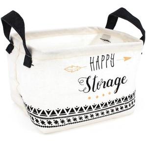 Panier de rangement 4L blanc avec anses Happy storage