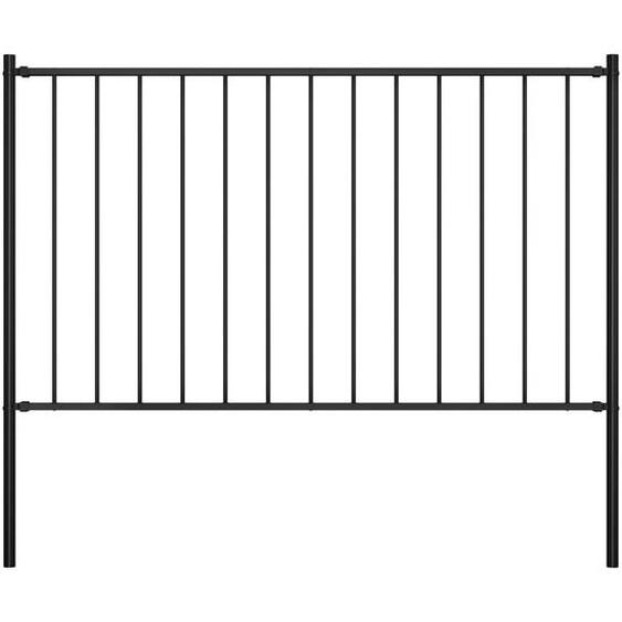 Panneau clôture et poteaux Acier enduit de poudre 1,7x1 m Noir