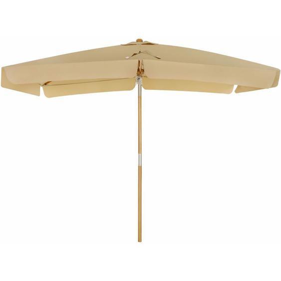 Songmics - Parasol 3 x 2 m, Ombrelle rectangulaire, protection solaire, anti-UV UPF50+, mât et baleines en bois, inclinable, sans socle, pour terrasse, balcon, jardin, Taupe GPU300K01 - Taupe