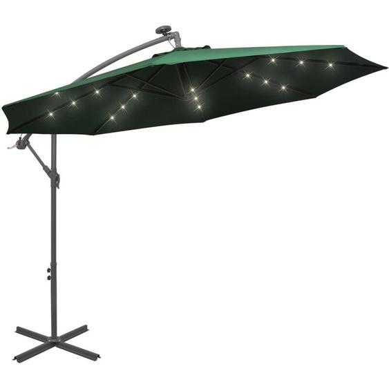 Youthup - Parasol avec éclairage LED 300 cm Poteau en métal Vert