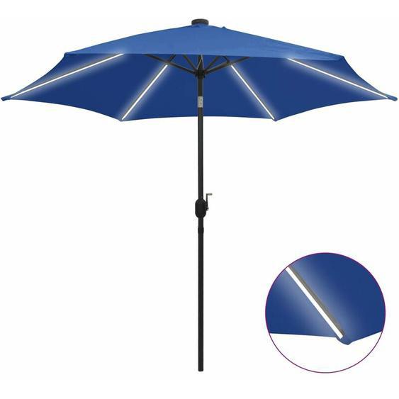Youthup - Parasol avec LED et mât en aluminium 300 cm Bleu azuré