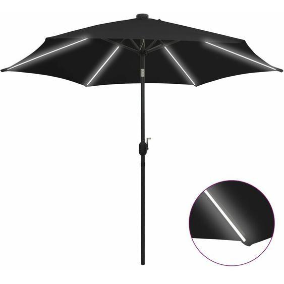 Youthup - Parasol avec LED et mât en aluminium 300 cm Noir