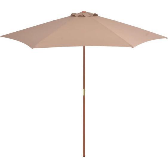 Youthup - Parasol avec mat en bois 270 cm Taupe