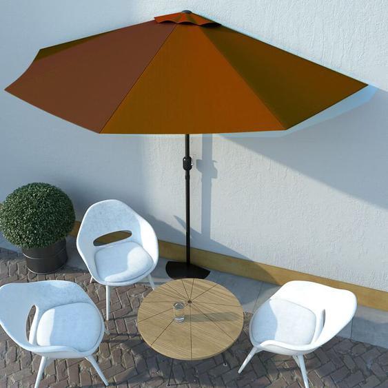 Youthup - Parasol de balcon et mât en aluminium Terre cuite 300x150x253cm