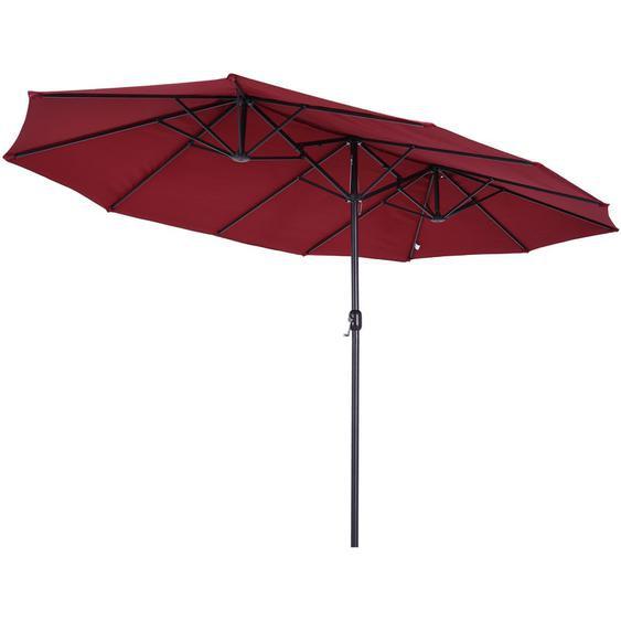Parasol de jardin XXL parasol grande taille 4,6L x 2,7l x 2,4H m ouverture fermeture manivelle acier polyester haute densité bordeaux