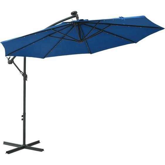 Parasol déporté à LED et mât en acier 300 cm Azuré