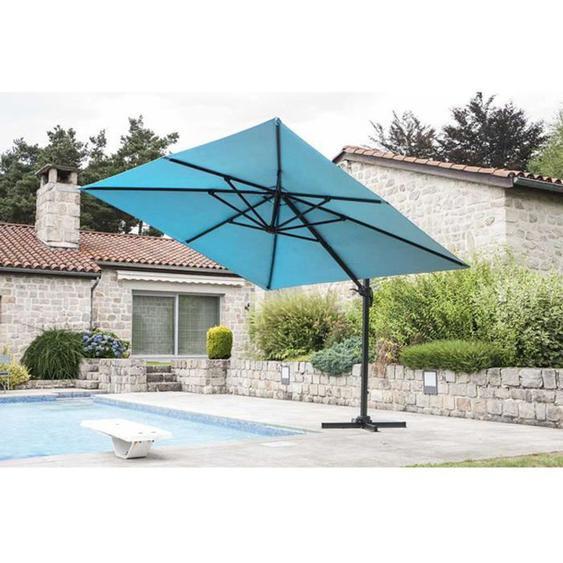 Parasol Deporte avec Cheminee en coloris Bleu Petrole - 3 x 4 m -PEGANE-