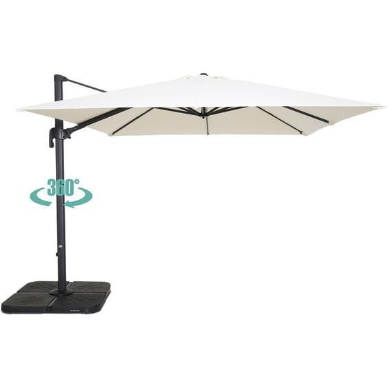 Parasol déporté carré 3 m en aluminium Malaga - Ecru - OVIALA