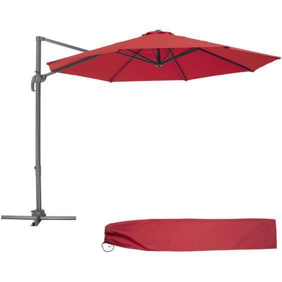 Parasol Déporté Excentré de Balcon à Pied Toile Inclinable en Aluminium 372 cm x 300 cm Rouge - TECTAKE