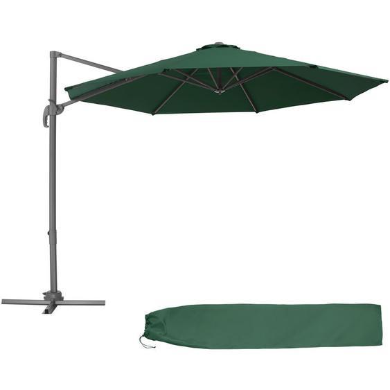 Tectake - Parasol Déporté Excentré de Balcon à Pied Toile Inclinable en Aluminium 372 cm x 300 cm Vert