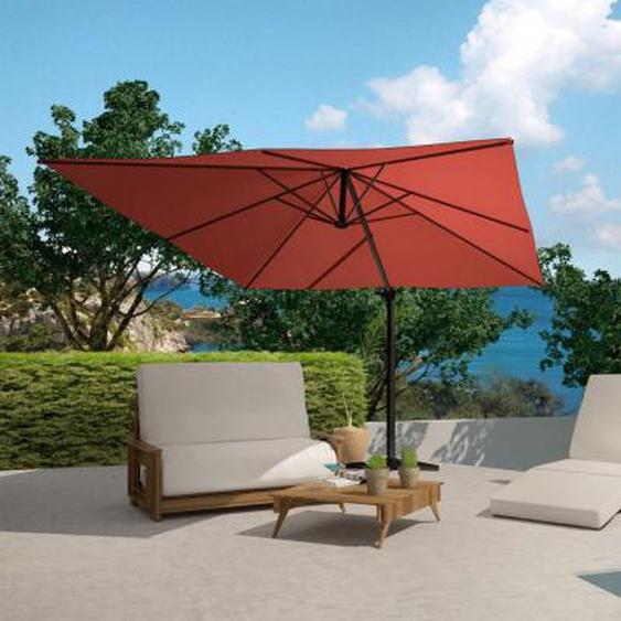 Parasol déporté & inclinable Lumpur - rotatif 360° - 3 x 4 m - 210 g/m² - terracotta