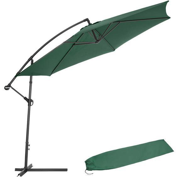 Parasol déporté Inclinable Vert Pied en Métal + Housse de protection - TECTAKE