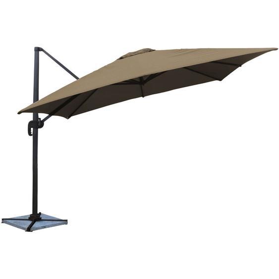 Parasol déporté MOLOKAI carré 3x3m taupe - HAPPY GARDEN