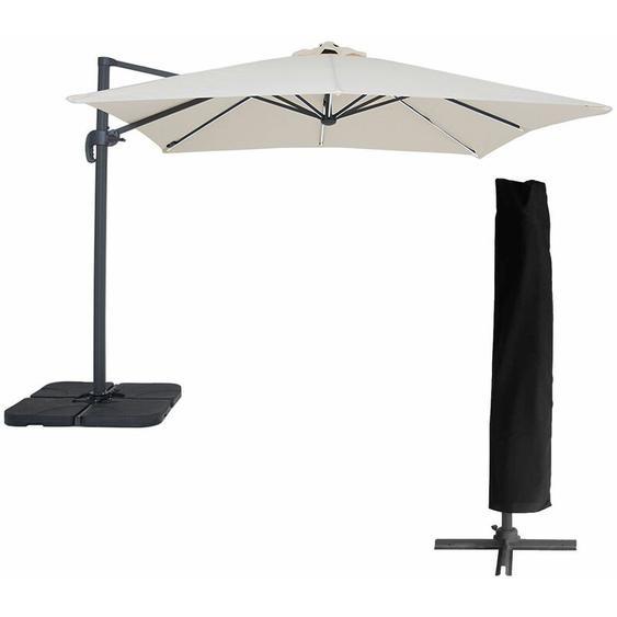 Parasol déporté MOLOKAI carré LED 3x3m beige + housse - Beige