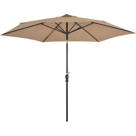 Youthup - Parasol dextérieur avec LED et mat en acier 300 cm Taupe