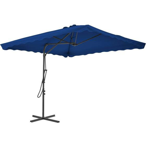 Parasol dextérieur avec mât en acier Bleu 250x250x230 cm