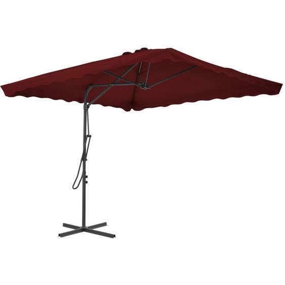 Parasol dextérieur avec mât en acier Bordeaux 250x250x230 cm