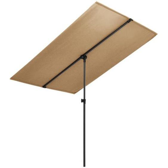 Parasol dextérieur avec mât en aluminium 2x1,5 m Taupe