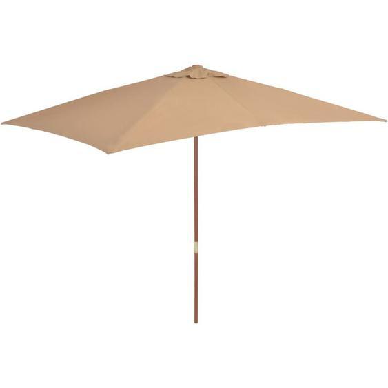 Youthup - Parasol dextérieur avec mat en bois 200 x 300 cm Taupe