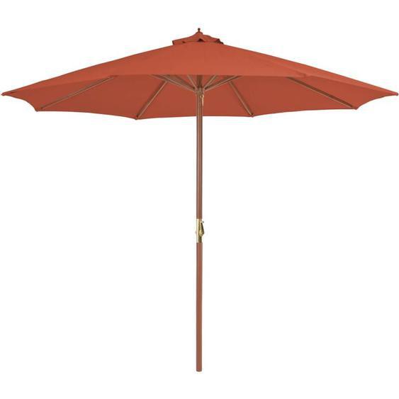 Youthup - Parasol dextérieur avec mat en bois 300 cm Terre cuite