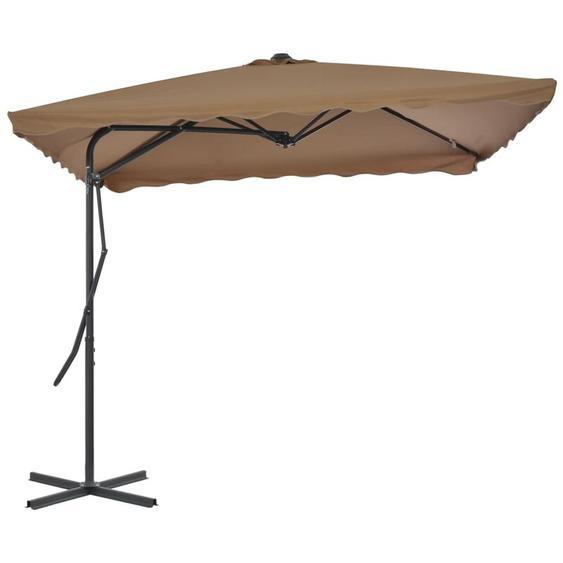 Parasol dextérieur avec poteau en acier 250 x 250 cm Taupe
