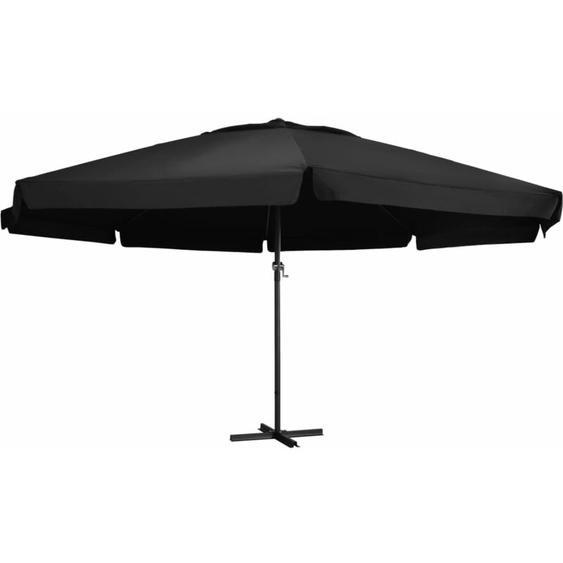 Parasol dextérieur et mat en aluminium 500 cm Noir