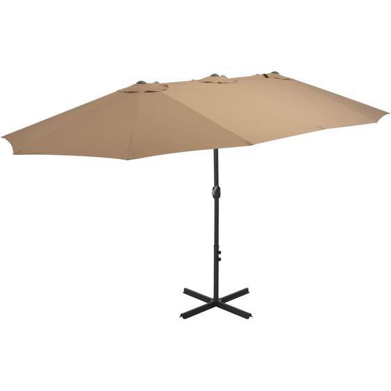Parasol dextérieur et poteau en aluminium 460 x 270 cm Taupe
