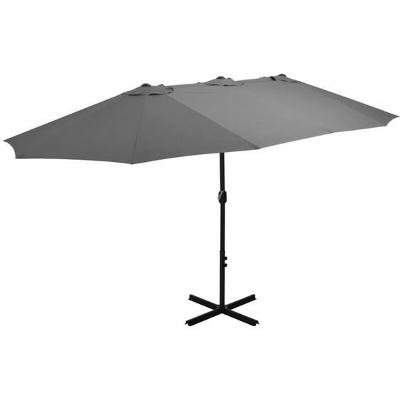 Parasol dextérieur poteau en aluminium 460 x 270 cm anthracite