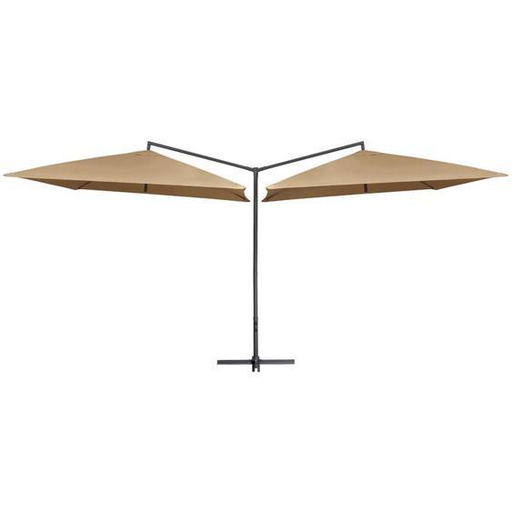 Parasol double avec mât en acier 250 x 250 cm Taupe