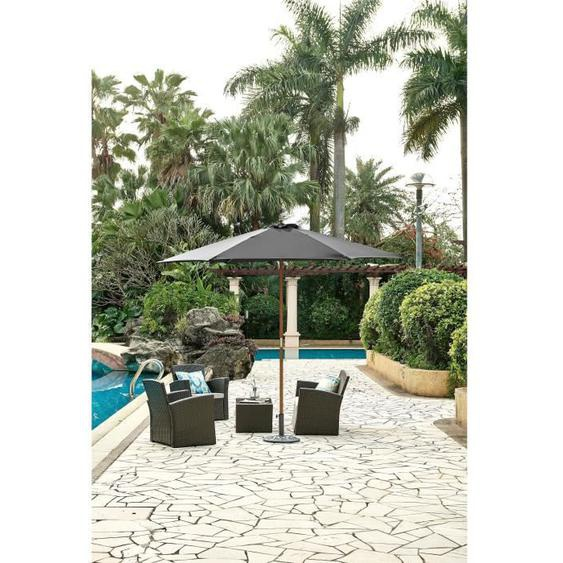 Parasol droit  diamètre 3m - Mât bois rond et polyester 160g/m² - Gris