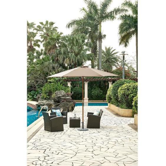 Parasol droit  diamètre 3m - Mât bois rond et polyester 160g/m² - Taupe