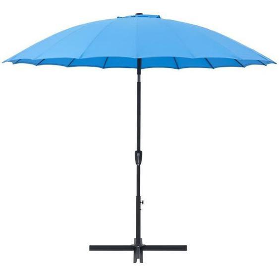 Parasol droit type Shanghai diamètre 3m inclinable - Mât aluminium et toile polyester 180g - Bleu - AURINKO