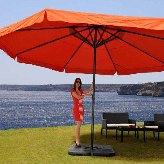 Parasol En Aluminium Meran Pro, Gastronomie, Marché, Avec Volant, Ø 5m   Terre Cuite Avec Pied