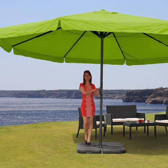 Parasol En Aluminium Meran Pro, Gastronomie, Marché, Avec Volant, Ø 5m   Vert Avec Pied